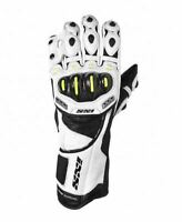 iXS Vitaro Evo Roadrace Leather Full Length Motorcycle Gloves White/Black