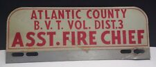 Atlantic County NJ BVT Vol. Dist. 3 Assistant Fire Chief License Plate Topper