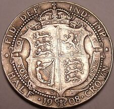 Huge Rare Silver Great Britain 1908 Half Crown~We Have Great Britain Silver~F/S~