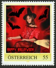 U) Personalized stamp halloween witch bat broom girl AUSTRIA 2009