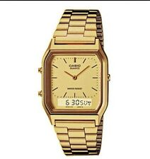 AQ-230GA-9D Casio Watch Dual Time Gold Analog Digital Steel Band. IDSY