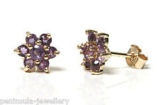9ct Gold Amethyst cluster stud Earrings Made in UK Gift Boxed