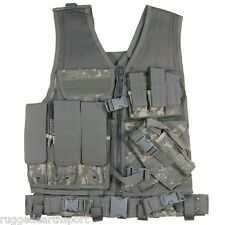 XXL Big & Tall Deluxe Tactical Vest w Holster + Pouches + Belt ACU DIGI CAMO