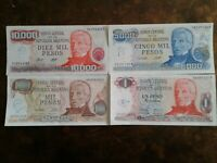 WORLD PAPER MONEY ARGENTINA 1977 - 10,000 PESOS + 3 *BANK NOTES* Collectibles