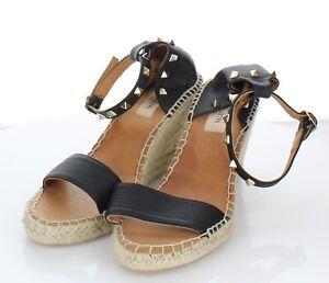 E17 $795 Women 39 M Valentino Garavani Rockstud Double Espadrille Wedge Sandal