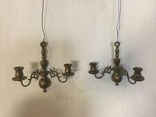 Candle Sconce Pair Antique Brass. Good Detail And Cond.C8Pix4Details.MAKE OFFER