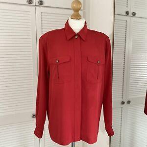 Liz Claiborne Vintage Blouse Size 14 Red Collared Secretary Geek Chest Pockets