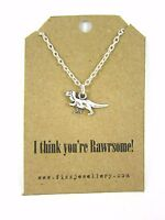 """""""I think you're Rawrsome!"""" Quirky T-rex Dinosaur Silver Necklace Gift New"""