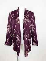 Anthropologie Ett Twa Purple Silky Satin Floral Tavie Blazer Jacket Size Small