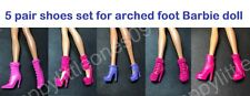 5 pair set Mattel Barbie Doll Shoes/Boots for Arched Foot for Barbie Dress New V