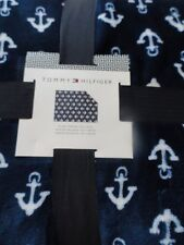 Tommy Hilfiger Plush Fleece Throw Blanket White Blue Anchors Nautical Summer NWT
