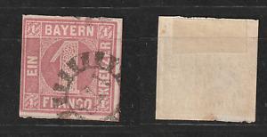 BAYERN - 1 Kreuzer rosa Mi.Nr.3 mit geschlossenem Mühlradstempel