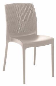 Stackable Indoor Outdoor Patio Dining Chair Rattan Look Back Single