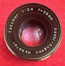 VINTAGE ASAHI KOGAKU 1:2.4 f = 58mm TAKUMAR FOR M37 ASAHIFLEX - EXC CONDITION