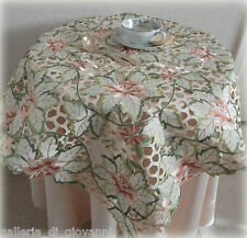"""Peachy Rose Lace Doily 33"""" Sq Table Topper Flower Rose Daisy Tablecloth"""