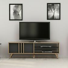 HOMEMANIA Mobile Porta TV Rilla Moderno con Ante Ripiani Noce Antracite in Legno