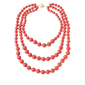 "Rarities 3-Strand Graduated Shell Bead 20-1/2"" Necklace - Pink - NIB"
