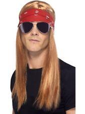 Brown Rocker Rock Star Kit 90s Wig Bandana Glasses Fancy Dress Accessory Kit