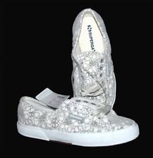Superga Raised Grey Flowers on White Velvet Shoes Fleece Lining Wms 7 NWT RARE