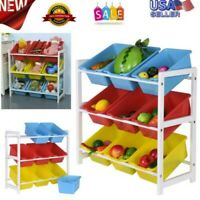 Children's Toys Finishing Storage Rack 3-Tiers Solid Wood Organizer With 9 Boxs