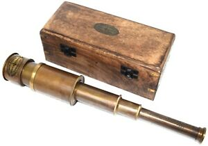 Collectible Handmade Brass Marine Engraved Collectible Telescope With Box Gift