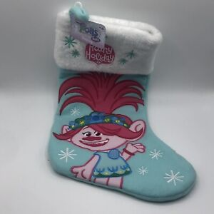 Dreamworks Trolls Christmas Stocking Hairy Holiday Poppy Embroidered Blue New