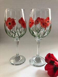 Pair of individually hand painted Poppy Wine Glasses