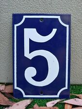 GREAT! FRENCH # 5 Home Address Enameled Porcelain Sign Plate Tile House Numbers