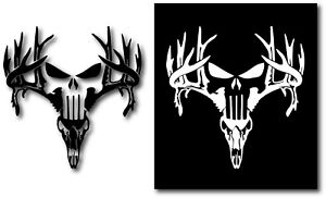 DEER PUNISHER ANTLERS BROWNING HUNTING SKULL DECAL STICKER CAR TRUCK JEEP WINDOW