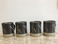 Chris Lewis Pottery Set Of 4 Mugs Studio Pottery Collectable Commissioned 1980s