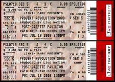 Linkin Park Tickets 2 Rare Unused Projekt Revolution Jul 18 2008 Burgettstown PA