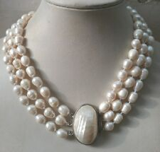 """Jewelry Fashion 3 Rows 9-11MM Natural White Akoya Pearl Necklace 18-20"""""""