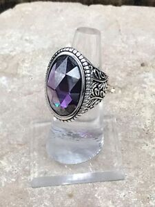 Barse Glisten Marquise Amethyst Ring- Sterling Silver-7-New With Tags