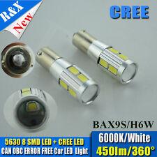 2pcs H6W 434 BAx9s LED Bulb CANBUS PARKING LAMP WHITE 8-SMD 5630 + CREE Q5 AUDI
