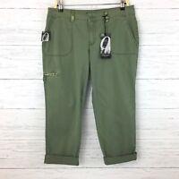 NEW Nine West Women's Olive Green Crop Pants Green Cargo Crop Pants size 10
