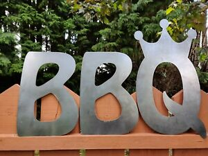 BBQ King Metal Sign Letters Plaque Crown Symbol Home Garden Bar Restaurant
