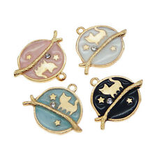 Lot of 4 Enamel Metal Alloy Cat Planet Charm Pendant Jewelry Crafts Accessories