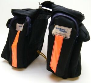 ANDREW HAGUE BLACK CANVAS BICYCLE SADDLEBAGS SADDLE BAGS