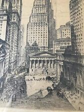 Etching Wall St, Broad St, N. Y. Stock Exchange, by  Anton Schutz NEW PRICE!!!!
