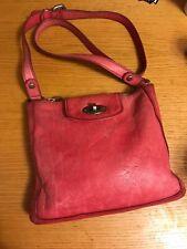 Fossil Pink/Red Crossbody Leather Tote Satchel Handbag Purse Bag Zip Closure