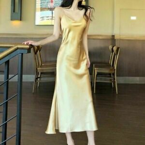 Womens V Neck Faux Silk Satin Full Slip Long Dress Fishtail Strap Sleepwear Gown