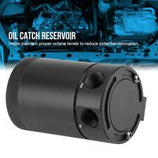 Black Universal Racing Baffled 2 Port Oil Catch Can Tank Air-Oil Separator NEU