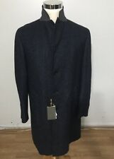 NWT Men's CANALI Melange Twill Kei Coat, Size 54R IT (44 USA), Navy