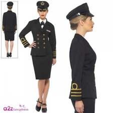 Ladies Navy Officer Costume Adult 40s Sailor Uniform Fancy Dress Womens Outfit