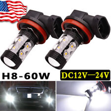 2 x 6000K White H8 LED Bulbs High Power 2323 60W LED Car Fog/Driving DRL Light