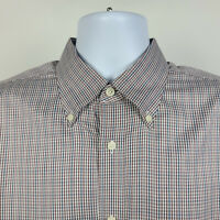 Nordstrom Wrinkle Free Red Blue Check Mens Dress Button Shirt Size Large L