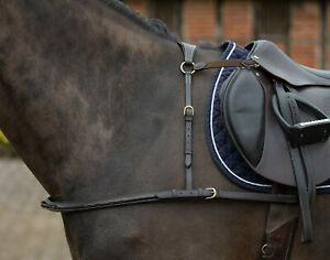 MARK TODD 4-POINT Leather Breastplate Brass Fitting Fancy Stitching Black Havana
