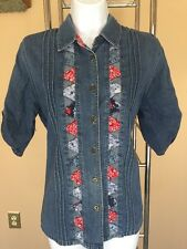 M Koret City Blues Vintage Pleated Bandana Accents Denim Shirt Top July 4th Red