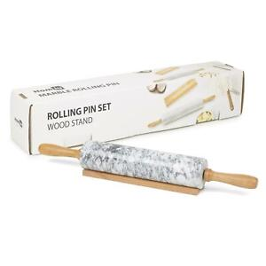 Homiu Marble Rolling Pin for Baking with Wooden Stand Easy Clean Speckle Finish