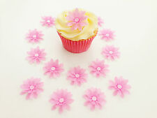 14 Edible Pink 3D Flowers Pre Cut Wafer Cupcake Toppers